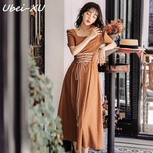 Ubei 2019 fashin style slim retro square collar dress super fairy French summer high waist Caramel color long