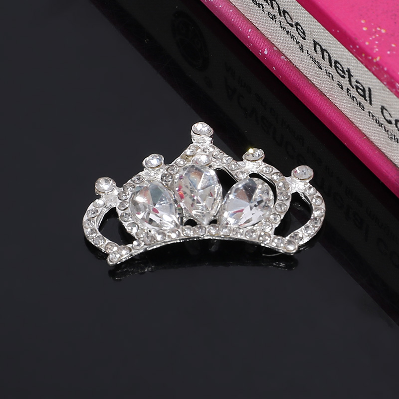 Engood 2018New 50Pcs Three-Drop Rhinestone Crown Button For DIY Children/'s hair or wedding or bride accessories BD73
