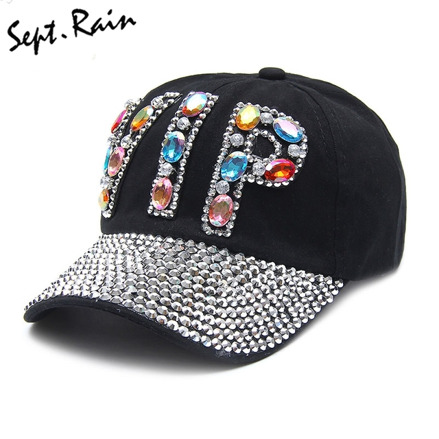 New Full Crystal Colorful Big VIP Denim Baseball Cap Bling Rhinestone Hip  Hop Adjustable Snapback Hats 1f066c609ff1
