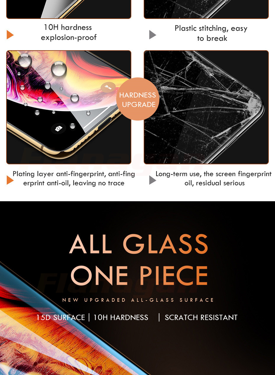 15D Protective Glass on the For iPhone 6 6s 7 8 plus XR X XS glass full cover iPhone Xs Max Screen Protector Tempered Glass 4