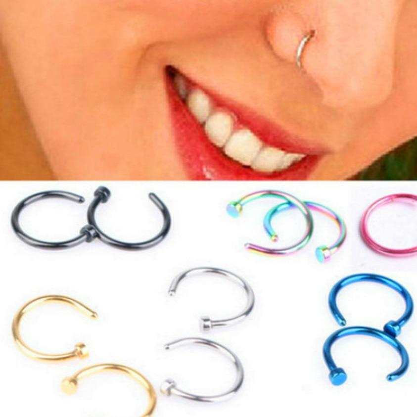 Hoop Nose-Ring Piercing Fake-Septum Body-Clip Gold Silver Titanium Women Hot Fashion