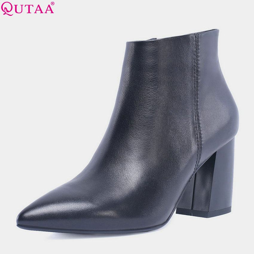 QUTAA 2019 women winter shoes platform cow leather+pu square high heel zipper ankle boots pointed toe women Shoes Size 34-42 qutaa 2018 women ankle boots fashion zipper square high heel pointed toe pu leather spring and autumn women boots size 34 43