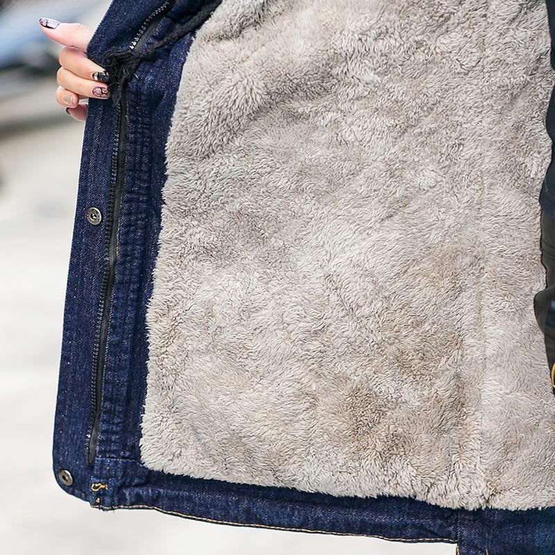 Parka Col Mode Qualité Haute X1587 Vestes De Femme Aboorun Fourrure D'hiver Blue Long Denim Avec À Chaud Bleu Femmes Polaire fT6qfxwdC