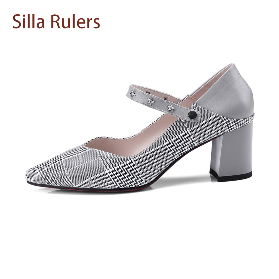 6212a4f4810 Silla Rulers Grey Lattice pattern Print Genuine Leather Women Pump Metal  Five Star Belt Shoes Chunky Heel Pointed Toe Mules Shoe