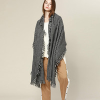 Solid Love Classic Elements Houndstooth Scarf Shawl Wool Scarf Female Dual Purpose Large Thick Warm Spring and Winter