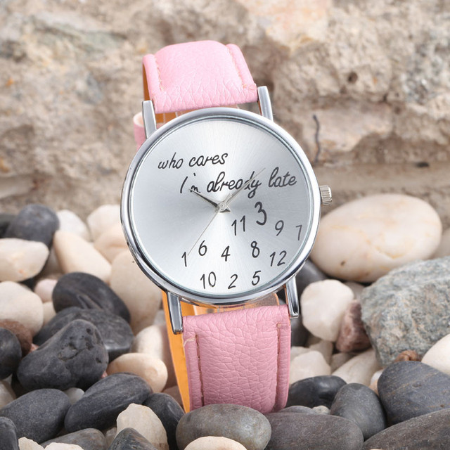 New Fashion Women Men Leather Casual Dress Watch Who Cares I'm Already Late Anal