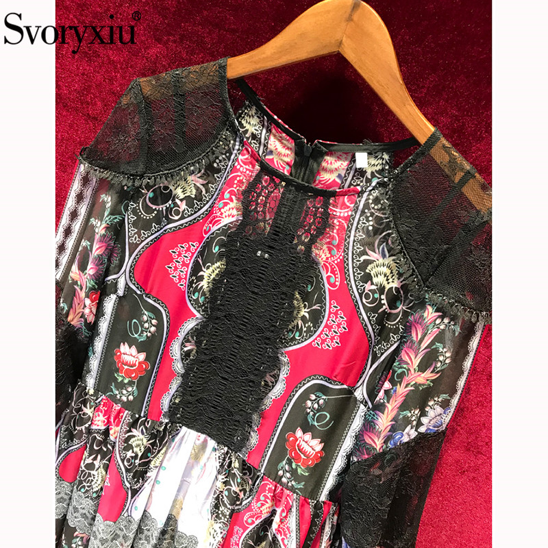 Créateur Noir 2019 Partie Multi Maxi Robe Svoryxiu Manches Femmes Robes Longues Mode D'été Vintage Pour Folk Vacances De Dentelle Imprimé 0O8wXnkP