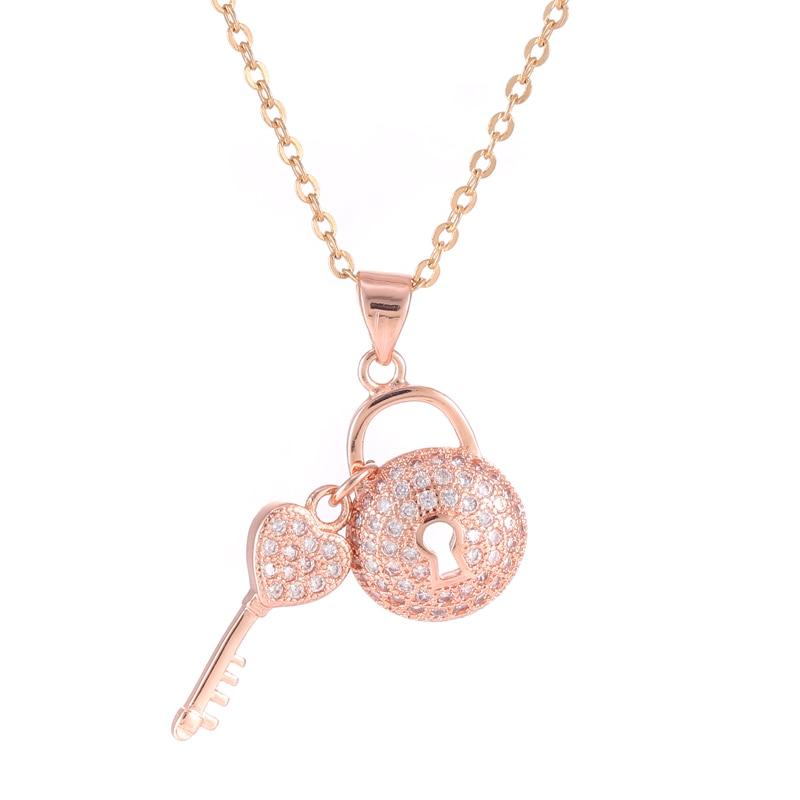 Розово злато ключ и брава висулка верига циркон кристално изявление огърлица 2017 нова търговия на едро модни дамски колиета бижута