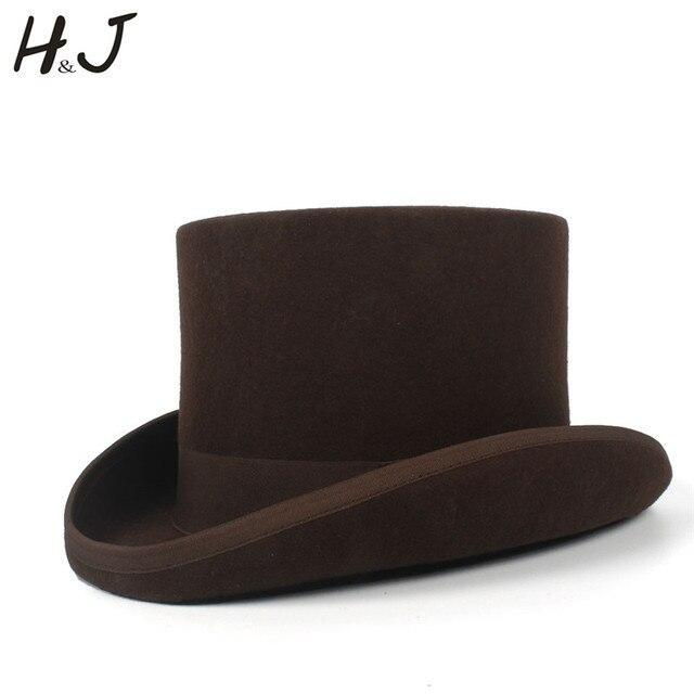 5 màu sắc Top Hat 15 cm 4 Kích Thước Len Phụ Nữ Người Đàn Ông Top Fedora Hat Ảo Thuật Cà Phê Steampunk Cosplay Punk Đảng mũ Dropshipping