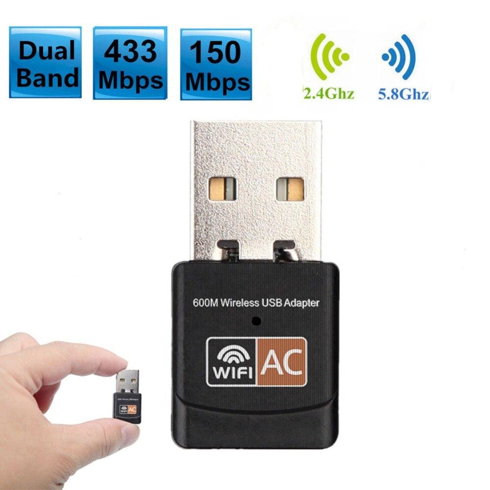 600Mbps Dual Band 2.4G / 5 GHz Kartu Jaringan Nirkabel Mini Lan USB 2.0 Komputer PC WiFi Adapter Wi-fi Adaptador 802.11AC
