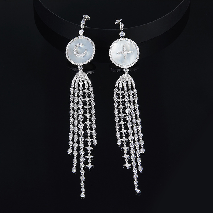 ZOZIRI solid silver nature shell earrings ,luxury brand monaco art desisgn nature mother of pearl shell tessels long earrings