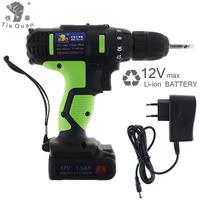 New AC 100 240V Cordless 12V Electric Drill / Screwdriver with 18 Gear Torque and Two speed Adjustment Button for Punching