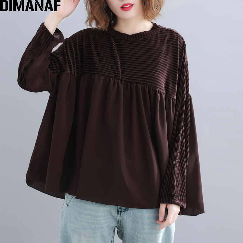 DIMANAF Plus Size Women   Blouse     Shirt   Long Sleeve Lady Tops Chiffon Spliced Pleated Female Clothes Loose Big Size Casual Spring