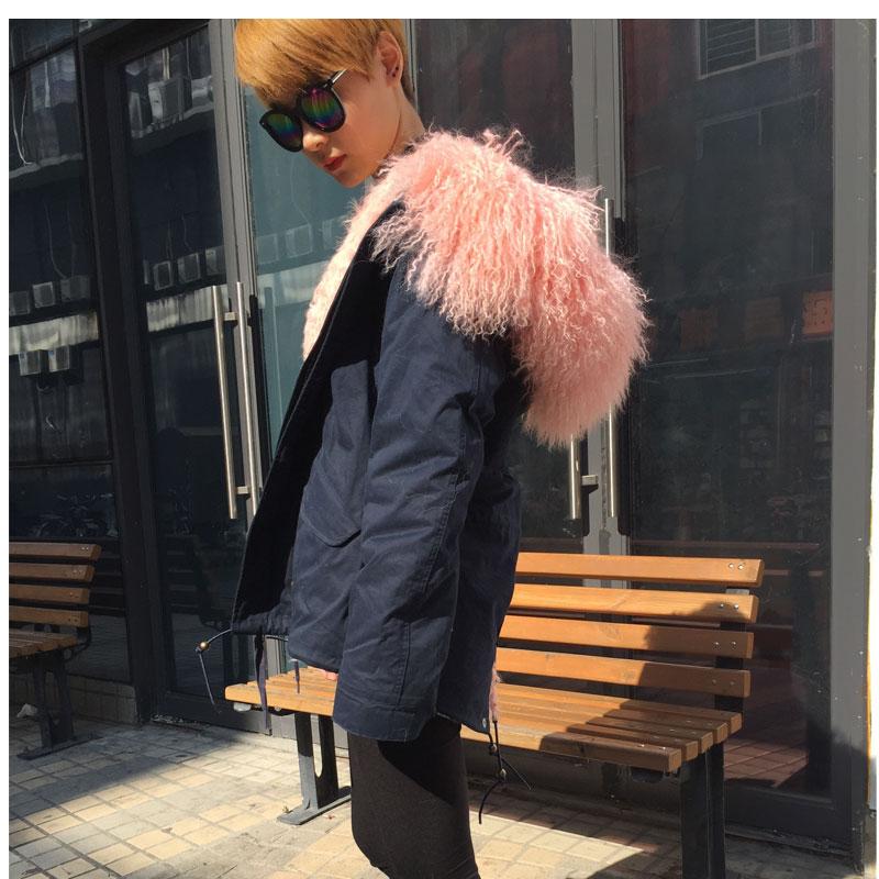 Réel De Hoodies Rose Hiver Wear Parka Collection Bleu Mme Fourrure Porter Nouvelle M D'agneau Mode Casual Doublé qwSdSUIFZx