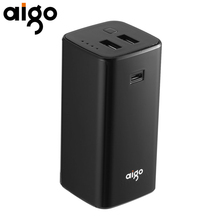 Aigo Más Pequeño Banco de la Energía 10000 mAh Dual USB de Salida INDICADOR De Carga Indica Teléfono Móvil Batería Externa Portable de Reserva para El Iphone