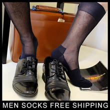 Mens Thin sheer Silk socks Solid color Transparent Male Business Shoes Socks TNT Glossy black Navy