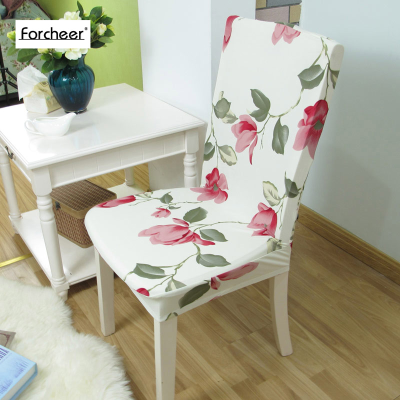 Floral Print Red Flower Chair Cover Home Dining Chair