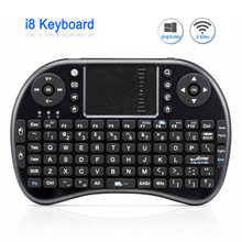 Mini Wireless Keyboard i8 Rusia Inggris Versi Air Tikus baterai Lithium Mini QWERTY Keyboard Touchpad Untuk Android TV BOX(China)