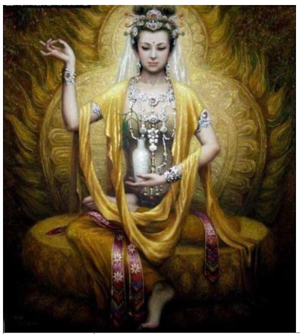 Lifelike hand-painted tibetan buddha decorative oil painting #2