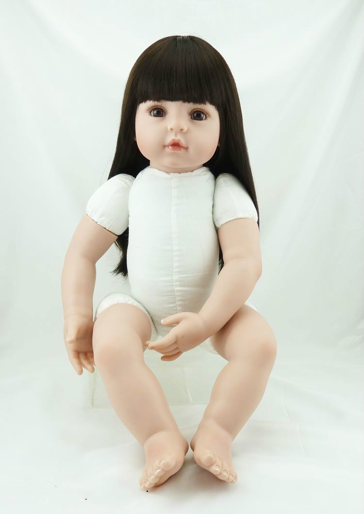 22 Inch Reborn Baby Girl Doll Naked Doll with Long Hair Babies DIY Toy Model New Year Gift Girls Birthday Christmas Toys 6pcs set kawaii baby kt cat kids toys birthday christmas gift cartoon diy hello kitty doll model action toy figures n057