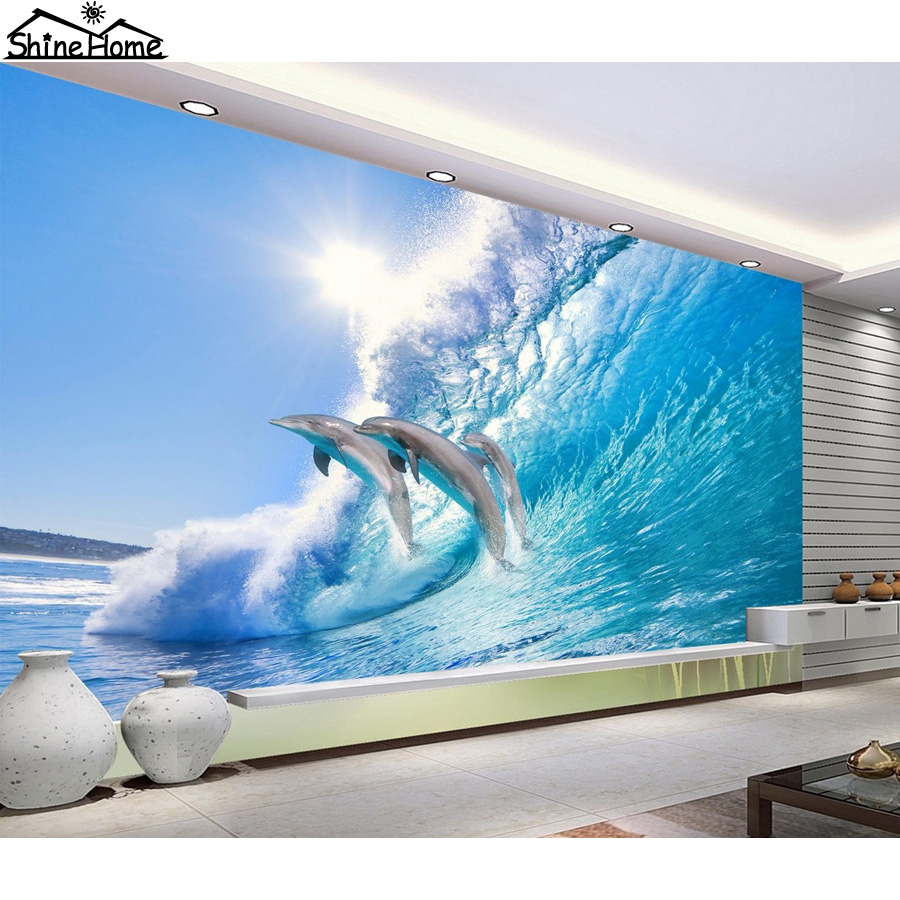 Cool Dolphin Jumping in Wave Sea 3D Wallpaper for Wall 3 d Flooring Photo Wallpaper for Livingroom Mural Rolls Kids Bedroom