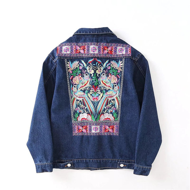2018 Embroidery Denim   Jackets   Women Vintage Embroidered Jeans Coat for Women 2018 Spring Autumn   Basic     Jackets   JH163
