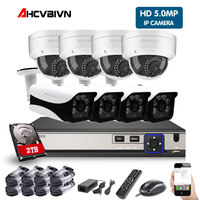 8CH 5MP 4K HD CCTV Set Video Surveillance Kit Security Camera System IP Cam P2P POE NVR Kit 2TB HDD