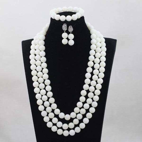 Blanc grandes boules charmes 3 couches ensembles de bijoux longue conception africaine de mariage perles collier ensemble de bijoux livraison gratuite ABH135Blanc grandes boules charmes 3 couches ensembles de bijoux longue conception africaine de mariage perles collier ensemble de bijoux livraison gratuite ABH135