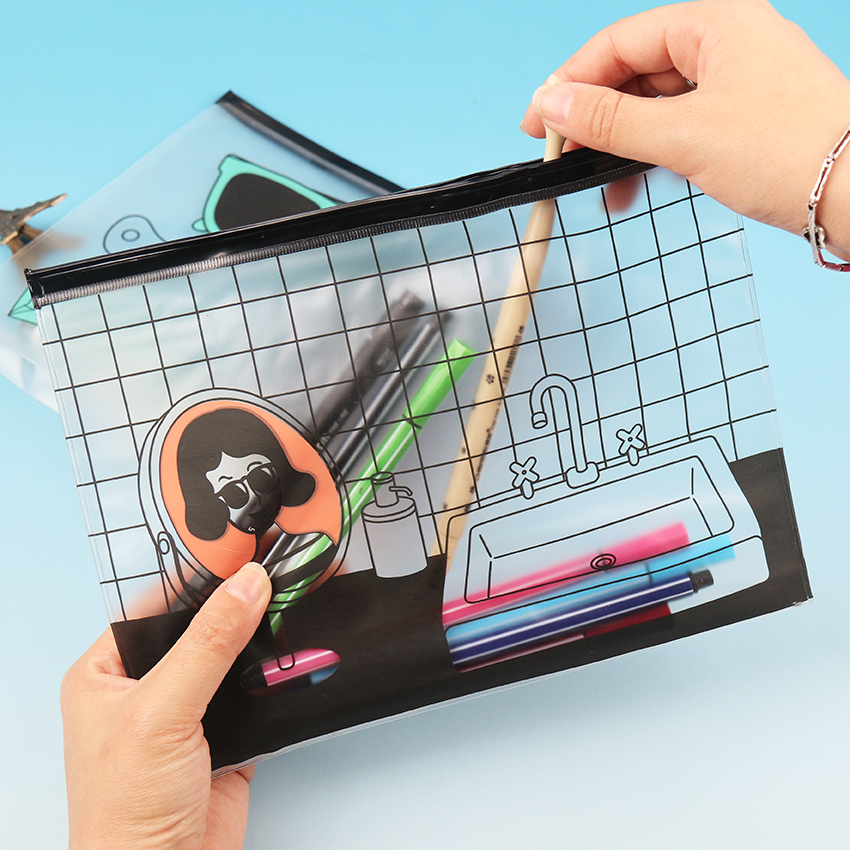 1 PC 23*17.4CM Cool Korean Fashion PVC Transparent Document Bag File Folder Stationery Organizer School Office Supplies