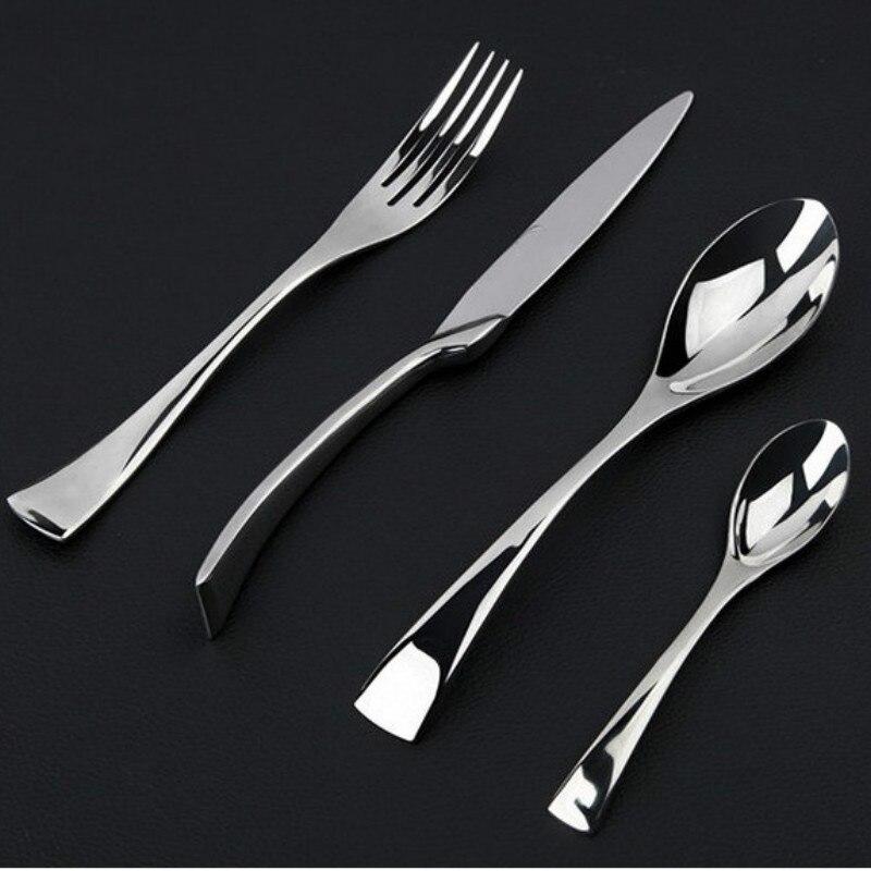 Черное покрытие костюм Нержавеющаясталь Западная столовые приборы Столовая посуда качество стейк Ножи + вилка Набор Посуда