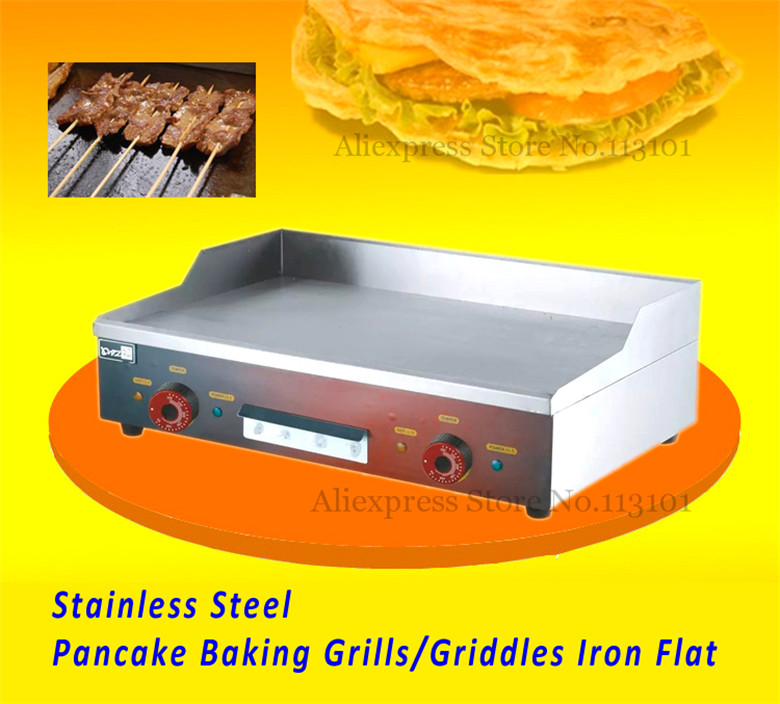 Stainless Steel Electric Grill/Griddle Teppanyaki Griddle Dorayaki Grill Machine with Double Temperature Controllers commerical electric grill  griddle veg 830