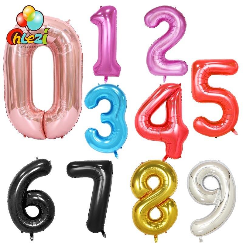 1 pc 40 polegada Rosa Número Foil Balões da Festa de Aniversário Do Aniversário De Casamento decoração de Prata Ouro Preto Vermelho Hélio Globos