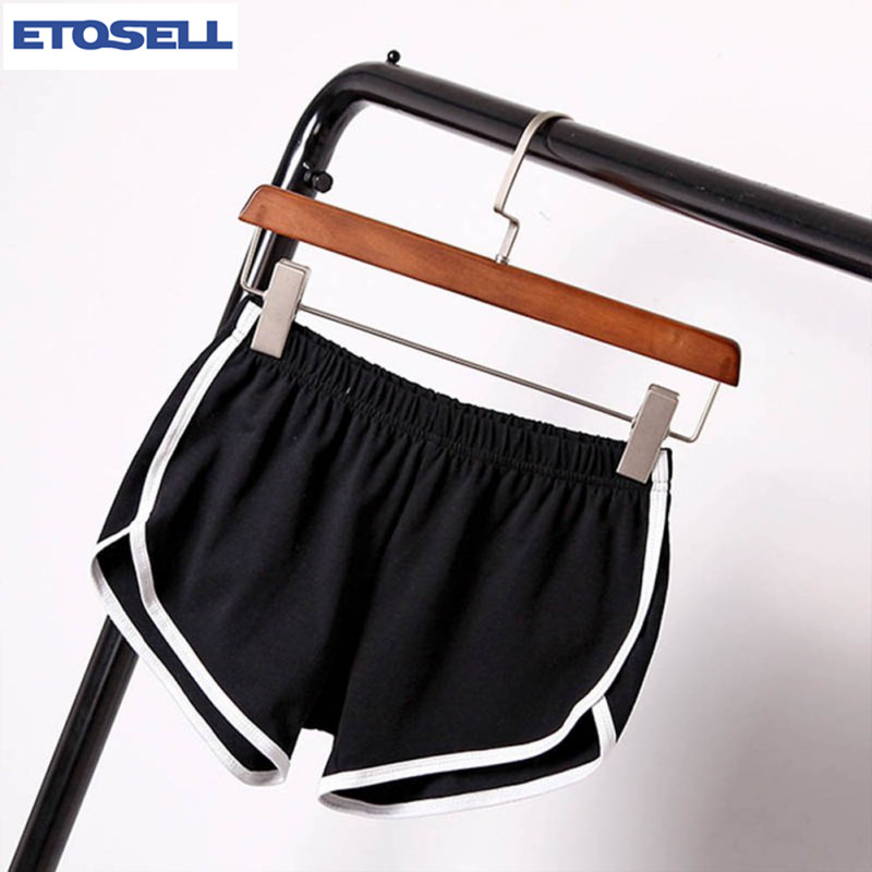 ETOSELL Women Cotton Blend Summer   Shorts   Pants 7 Colors Contrast Binding Side Split Elastic Waist Patchwork Casual   Short   Pant