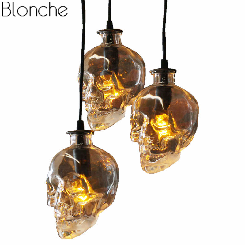 цена Retro Skull Clear Glass Pendant Light Fixtures Demon Ghost Bottle Hanging Lamp For Home Decor Dining Room Bar Led Luminaire E14 онлайн в 2017 году