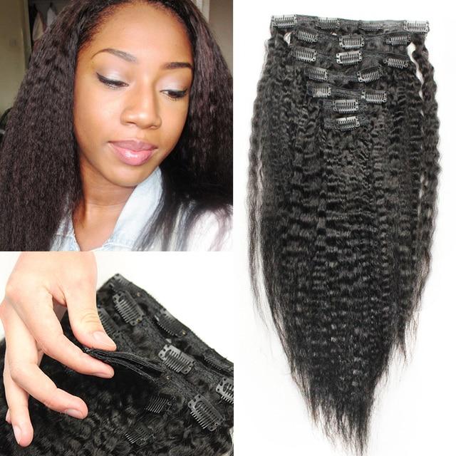 Clip en extensiones del pelo humano del pelo virginal malasio 7 unids/pack 120 g recto rizado del pelo humano Clip en las extensiones grueso Yaki del pelo
