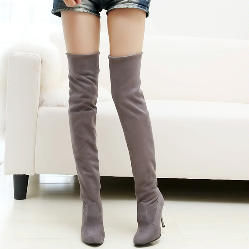 New Style Hot Autumn Winter Warm high heel pumps high snow boots artificial nubuck leather casual female over the knee shoes new autumn winter warm women shoes snow boots square high heels artificial leather top casual female elastic band ankle shoes