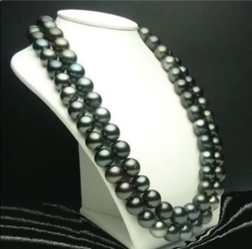 FREE SHIPPING fast AAA+ 10-11MM TAHITIAN BLACK PEARL NECKLACE 32