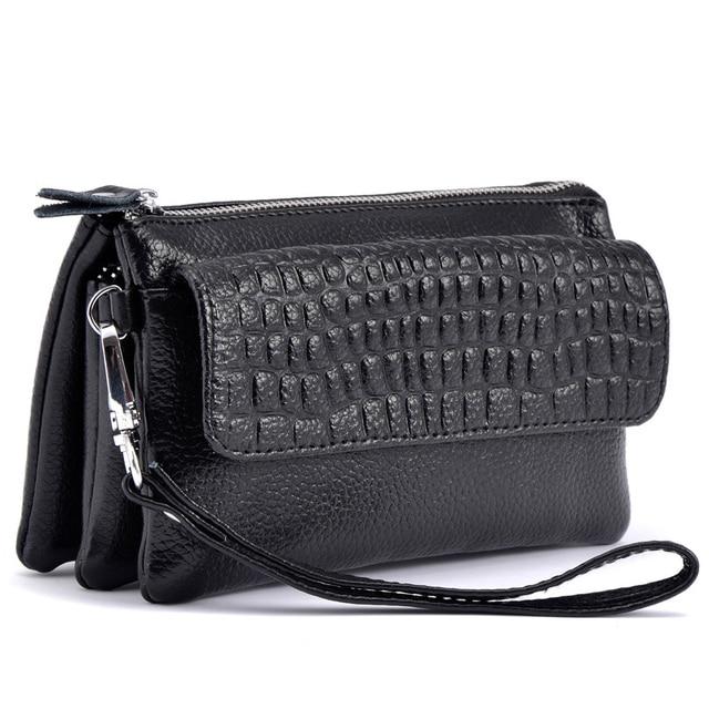 Female 2017 Cowhide Split Leather Wallet Women Cosmetic Phone Clutch Hand Shoulder Bags Ladies Zipper Card Holder Purse Wallets
