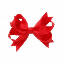 100pcs/lot Hair Bow Boutique Style Polyester Grosgrain Hair Bow in Red