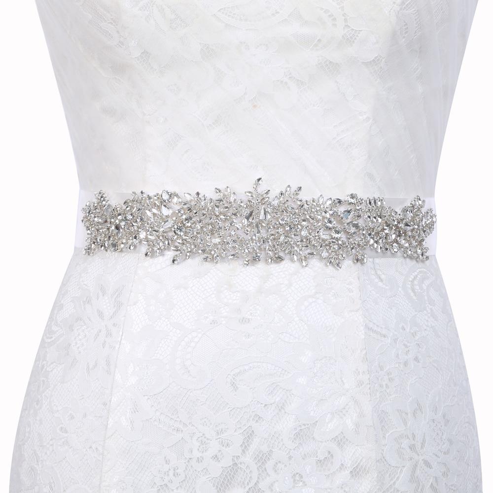 Inofinn Z11 Crystal Wedding Accessories Satin Wedding Dress Belt Bridal Ribbon Waistband Sash Belt For Evening Prom Dresses