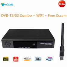 Fully HD 1080P Digital Terrestrial Satellite Receiver DVB-T2 S2 Combo TV Tuner + Wifi With 1 Year Cccam Support IPTV Youtube AC3 freesat v7 1080p digital dvb s2 atsc combo support hd ac3 audio convertor tv box satellite receiver with iks youtube cccam