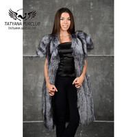 Tatyana Furclub 2018 New Luxury Fashion Fox Fur Vest,Warm Winter Thick Long Vest For Women, 100% Real Value Natural Fur Vest,