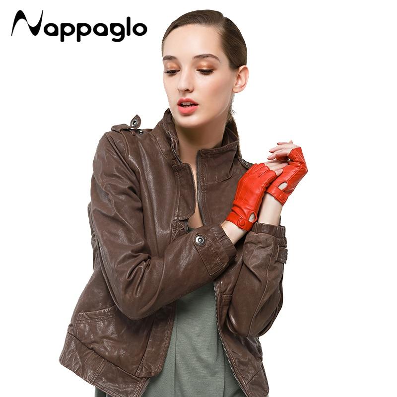 Nappaglo Women 100/% Nappa Lambskin Leather Gloves Half Fingerless Driving White
