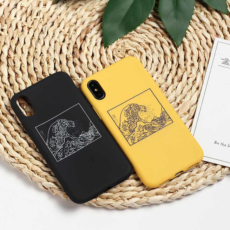Gelombang Besar Off Kanagawa Penutup Belakang Lembut Silicone Ponsel Case Fundas untuk Iphone 7 Plus 6 Plus 6 6 S 5 S 8 8 Plus X XS Max Kasus