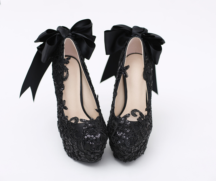34 39 Custom Handmade Bling Slip on Solid Black Crystal Lace Bowknot Decorate Round Head Flowers High Heel Party Dance Shoes - 2