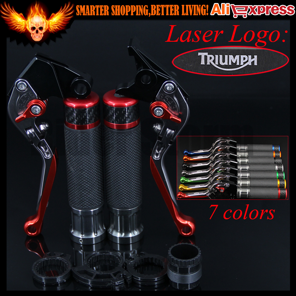 7 Colors Red+Titanium CNC Adjustable Folding Motorcycle Brake Clutch Levers&Handlebar Hand Grips For Triumph THRUXTON R 2016