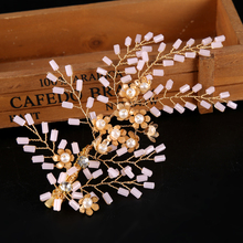 Handmade Gold Women Trendy Pearl Crystal Headband tiara For Bride Hair Jewelry Wedidng Hair pins Rhinestone Head Pieces FJ057