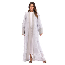 Muslim three-dimensional floral net loose lace long sleeve cardigan windbreaker under the order to send scarf