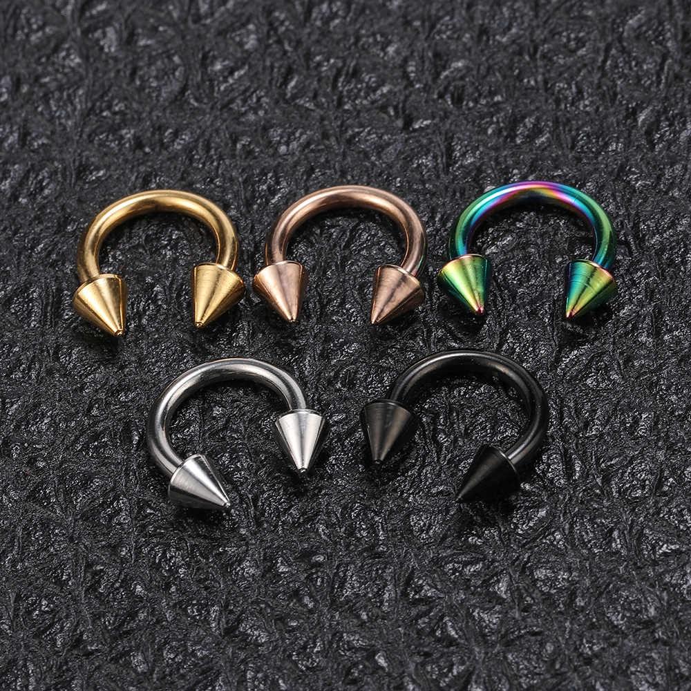 ZS 5 יח'\חבילה נירוסטה האף טבעת ספייק פירסינג Helix אוזן פירסינג לנשים גברים מחץ טבעות פירסינג תכשיטים