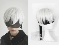 NieR Automata 9S Silver White Wig YoRHa No 9 Model S Men Anime Cosplay Wig With